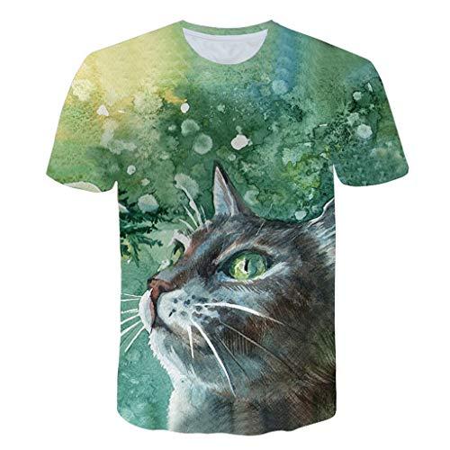 LXZWAN Cómoda Camiseta Creativa de Manga Corta, Frescos de Moda Unisex de Manga Corta de Camisas 3D Creativo Impreso Verde Pintado Personalidad de La Manera Gráficos del Gato Camisetas