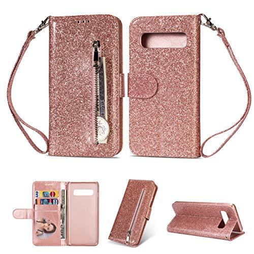 Artfeel Reißverschluss Brieftasche Hülle für Samsung Galaxy S10+/S10 Plus, Bling Glitzer Leder Handyhülle mit Kartenhalter,Flip Magnetverschluss Stand Schutzhülle mit Tasche und Handschlaufe-Roségold