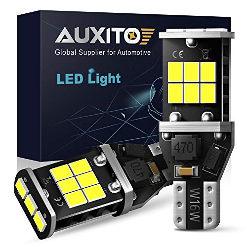 AUXITO 912 921 LED Backup Light Bulbs High Power 2835 15-SMD Chipsets Error Free T15 906 W16W for Back Up Lights Reverse Lights, 6000K White (Upgraded, Pack of 2)