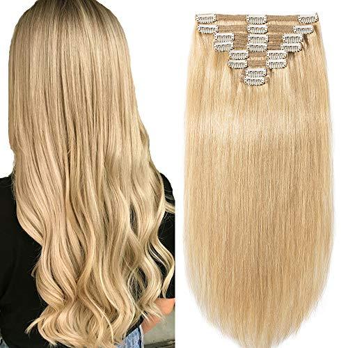 Clip in Extensions Set 100% Remy Echthaar 8 Teilig Haarverlängerung dick Dopplet Tressen Clip-In Hair Extension (25cm-110g,#24 Natürlich Blond)
