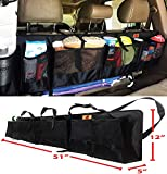 SUVs Rear Trunk Organizer with Umbrella Holder Hanging, X Large by P&F - Extra Rigid and Visible, Collapsible Cargo Net, Backseat Storage for Mid-size Crossovers to Mid-size SUVs, Van (51-Inches)