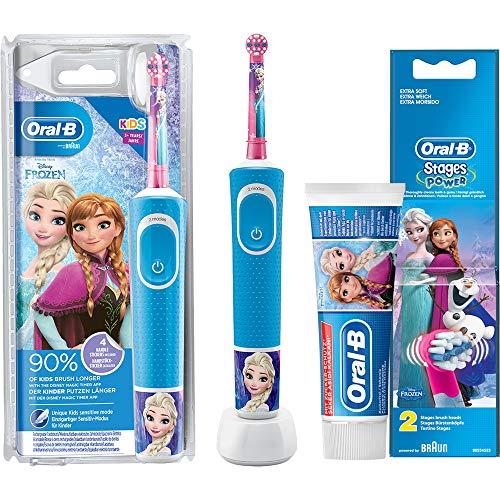 Oral-B Vitality KIDS Frozen Elektrische Zahnbürste 3+ Jahre Eiskönigin Blau Bundle Sparset