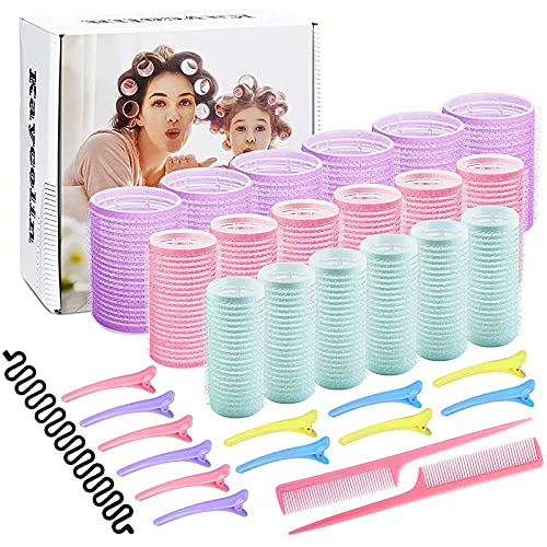 Hair Rollers Set,18 Rollers, 25mm, 30mm, 44mm, 12 Duckbill Clips, 2 Combs, a Braid Device, Used for Haircut Styling
