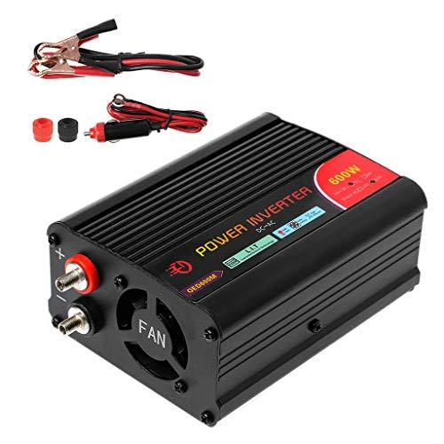 JENOR Inversor de corriente de 600W DC 12V a 220V AC coches inversor con adaptador de coche y puerto USB