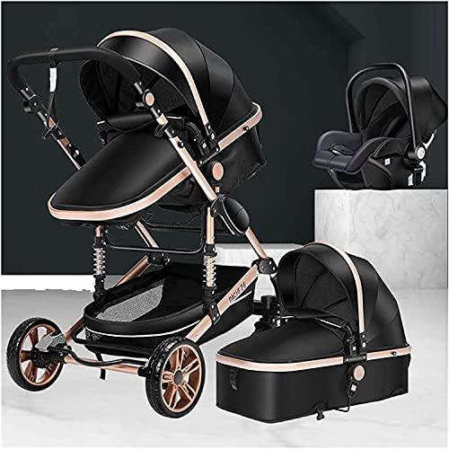Chilequano Bassinet convertible 3 en 1 con accesorios de cochecito, cochecito para bebés para niños pequeños, cochecito recién nacido de anti-shock plegable, carro de bebé con canasta grande y espacio
