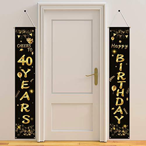 HOWAF 2pcs 40. Geburtstag Party Dekorationen Schwarz und Gold, Alles Gute zum Geburtstag Banner, Prost auf 40 Jahre Banner, Prost auf 40 Jahre Banner