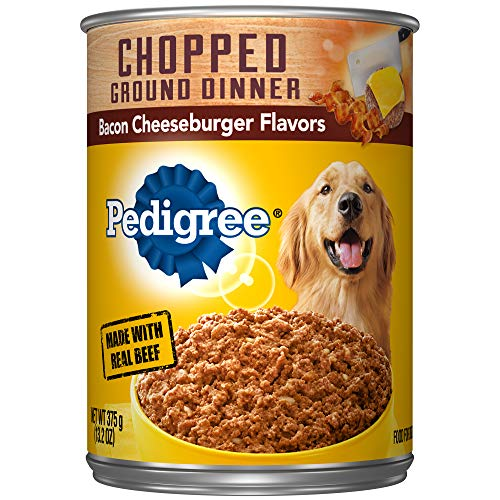 PEDIGREE Adult Canned Wet Dog Food Chopped Ground Dinner Bacon Cheeseburger Flavors, (12) 13.2 oz. Cans