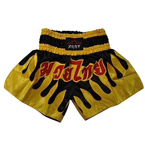 Zest4Fight Schwarz & Gelb Muay-Thai Shorts - Medium