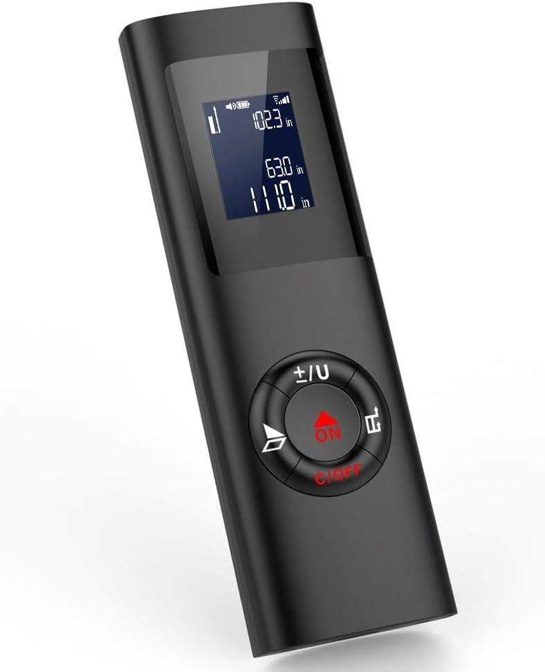 GDMIN Mini Telemetro Laser 40M, Telémetro Láser Portátil Recargable por USB,M/In/Ft Medidor Laser de Distancia, con retroiluminación de Pantalla LCD