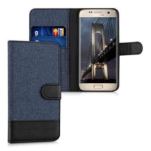 kwmobile Carcasa Compatible con Samsung Galaxy S7 - Funda de Tela y Cuero sintético Tarjetero Azul Oscuro/Negro