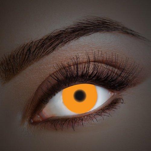 aricona Kontaktlinsen - Orange UV Kontaktlinsen ohne Stärke - Farbige Kontaktlinsen mit UV Spezialeffekt für Karneval, Fasching, Cosplay und Motto-Partys, 2 Stück