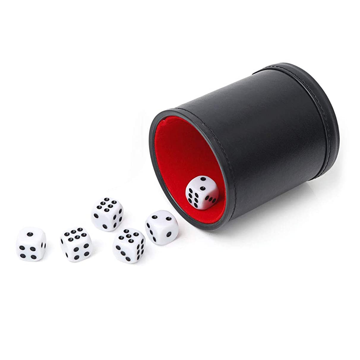 Tuzama Professional PU Leather Dice Cup, Felt Lined, with 6 Dices for Yahtzee Bar Party Dice Games
