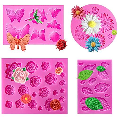 fondant silicone Mold Fai Da Te Rosa, Fiore del sole, farfalla, Le foglie Silicone Stampi, Cottura Al Forno Cioccolato Gumpaste Ripieno Orlo Fimo