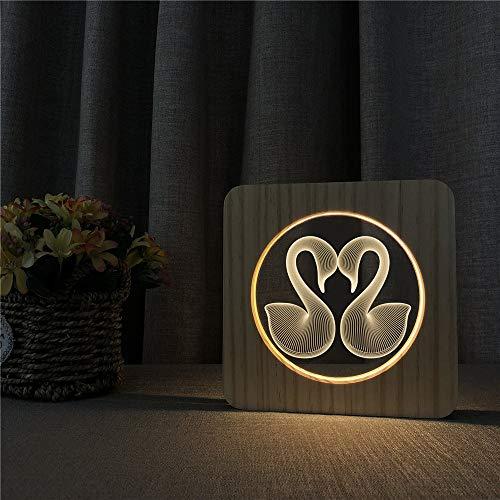 Amour Cygne Modèle Animal Acrylique en Bois Nuit Lumière Table Lumière Interrupteur Contrôle Chambre des Enfants Déco Sculpture Lumière