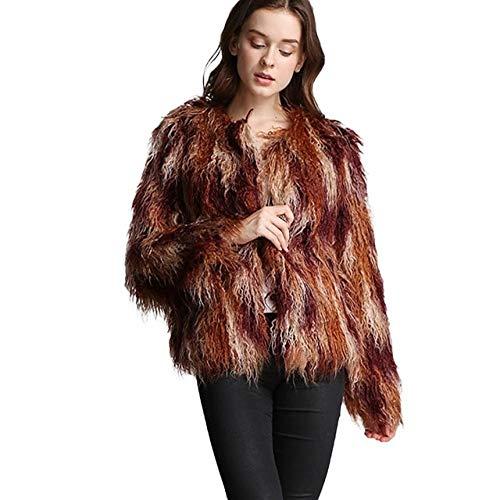 JIANYUXIN Mantel Manteligen Mantelmantel Frauen Flauschige Warme Langarm Farbverlauf Oberbekleidung Herbst Wintermantel Jacke Haarigen Kragenlosen Mantel