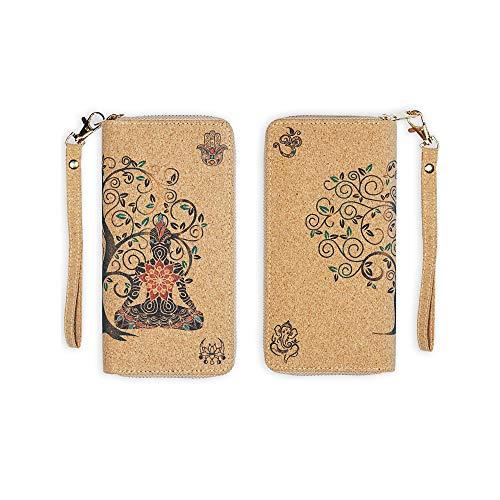 Buddha vegan cork wristlet wallet - zip around wallet for women – Spiritual design Tree of Life Ganesh Hamsa Om symbol & Lotus flower with moon phases Sustainable Cruelty free Billetera para mujer