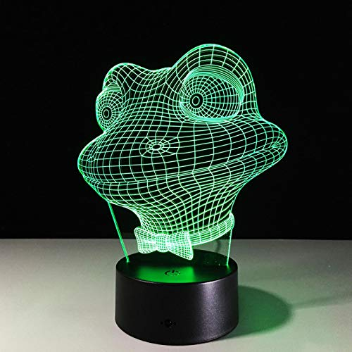 3D Ilusión Óptica Lámpara Led Luz Nocturna Rana Animal De Dibujos Animados Lámpara De Mesa De Noche Usb Para Infantil Dormitorio Decoración Regalo De Cumpleaños Para Niños 16 Colores Con Contr