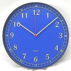 Comodo Casa Wall Clock- Metal Bright Silver Frame-Glass Cover-Non Ticking-Quartz Sweep-Silent 10 inch-25 cm Retro Clock (Blue)