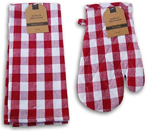 Mabelle Home Collection Kitchen Linen Set Buffalo Plaid Red and White Patterned Kitchen Towel product image