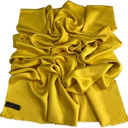 Pashmina amarillo sólido para mujer