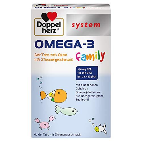 Doppelherz system OMEGA-3 family Gel Tabs – Enthält 180 mg DHA, ein Baustein des Gehirns, als Tagesportion (2 Gel-Tabs) – 60 Tabs