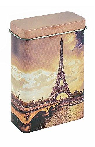 Zigarettenbox Metall - Motiv Eifelturm - für 24 lange Zigaretten - 5 Stück