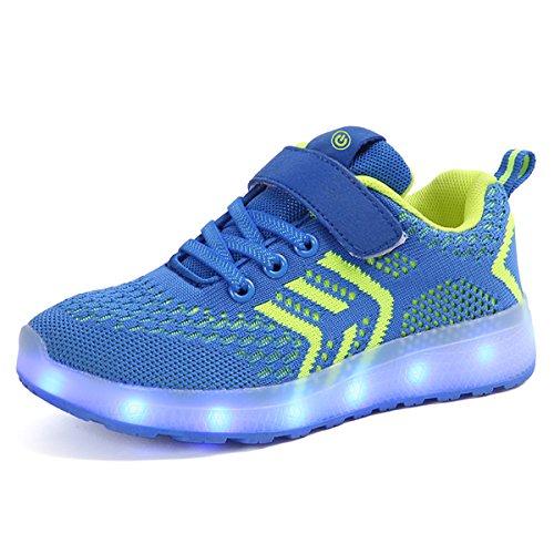 Axcer Unisex Kinder LED Schuhe 7 Farbe USB Aufladen Led Leuchtend Outdoor Sportschuhe Low Top Atmungsaktives Ultraleicht Laufschuhe Gymnastik Turnschuhe Für Jungen Mädchen (28 EU, Diamant blau)