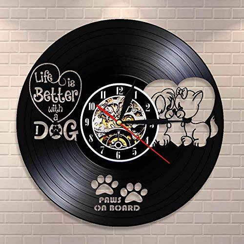BFMBCHDJ La Vida es Mejor con un Perro Cita inspiradora Clínica Veterinaria Decoración de la Pared del Perro Reloj de Pared Patas a Bordo Reloj de Pared con Registro de Vinilo Vintage