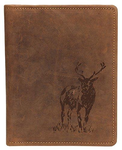Greenburry Vintage Leder-Schreibmappe in A5 mit Rotwild Motiv I DIN A5 Konferenztasche mit Hirsch REH Motiv I Geschenkidee für Jäger