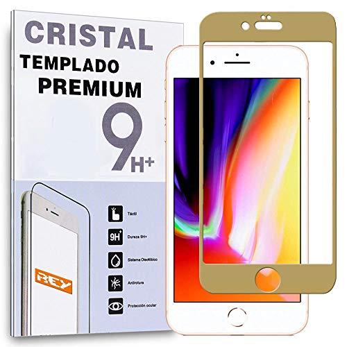 REY Protector de Pantalla Curvo para iPhone 8 Plus/iPhone 7 Plus, Oro, Cristal Vidrio Templado Premium, 3D / 4D / 5D
