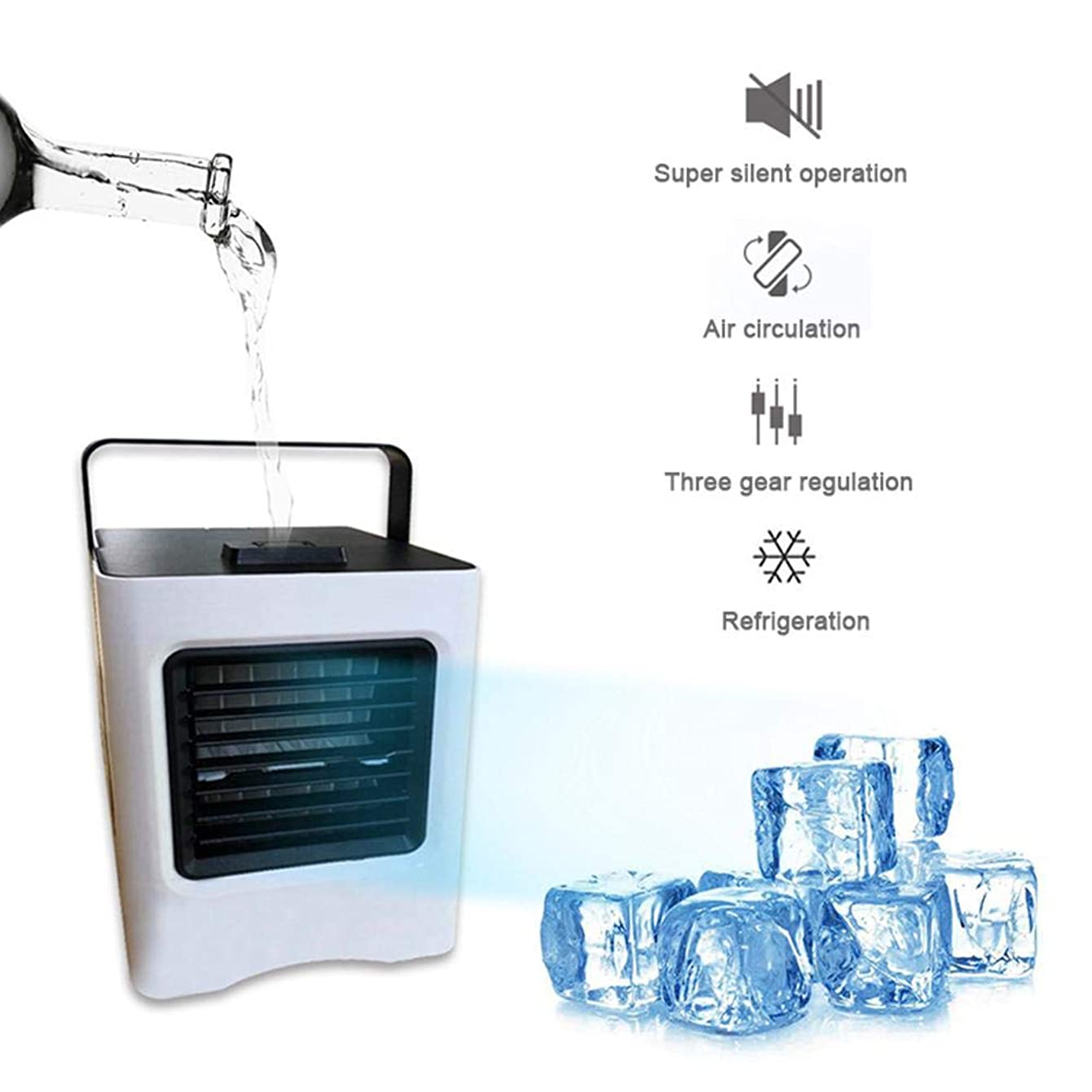 Mini Air Conditioner, Air Evaporative Cooler USB Portable Small Space Personal Ice Air Cooler Fan That Uses Water and Ice with Handle for Desktop, Dorm, Office, Bedroom, Apartment and More