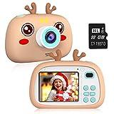 2NLF Macchina Fotografica Bambini HD da 2.4'' Fotocamera per Bambini 8MP 1080P Custodia Protettiva in Silicone con Cordino 32G TF Card Regalo di Natale Capodanno dai 3 ai 10 Anni