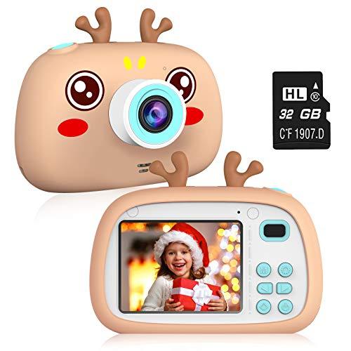 2NLF Macchina Fotografica Bambini HD da 2.4   Fotocamera per Bambini 8MP 1080P Custodia Protettiva in Silicone con Cordino 32G TF Card Regalo di Natale Capodanno dai 3 ai 10 Anni