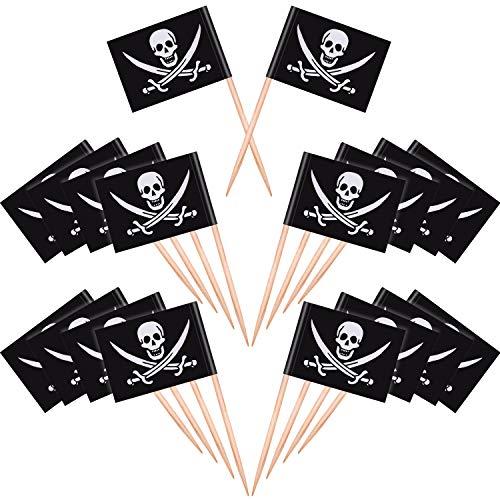 100 Stücke Piraten Cocktail Zahnstocher Flaggen Kuchen Topper für Lebensmittel, Vorspeise, Cocktail, Cupcake Dekoration für Kinder Halloween Geburtstag Party Dekorationen (100)