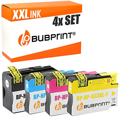 4 Bubprint Druckerpatronen kompatibel für HP 932XL 933XL für OfficeJet 6100 e-Printer 6600 e-All-in-One 6700 Premium 7110 7510 7610 7612 Wide Format Schwarz Cyan Magenta Gelb Multipack