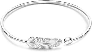 Ranikeer Bracelet Femme en Argent 925, Bracelet Jonc Feuille Ouvert Taille Réglable Style Bohême, Bijoux Fantaisie Cadeau ...