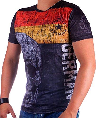 Herren Germany T-Shirt | Deutschland Shirt mit Flagge und Totenkopf | UEFA Euro 2016 | Olympische Spiele Rio 2016 | Fanartikel Schwarz Rot Gold EM WM | DFB Trikot (4XL-Slim)