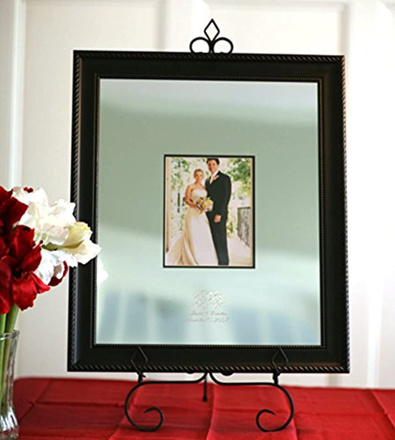 Signature Keepsakes Frame Engravable Signature Mat Guest Book, Large, Silver/Black