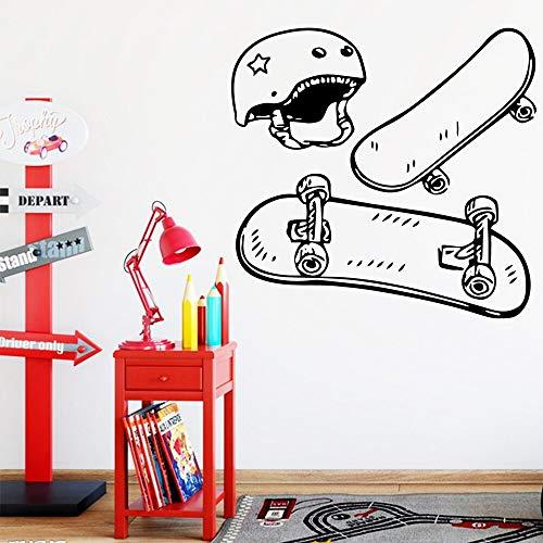 Divertidas pegatinas de pared de monopatín para decoración de habitación de niños pegatinas de pared autoadhesivas impermeables calcomanías de arte A6 58x60cm