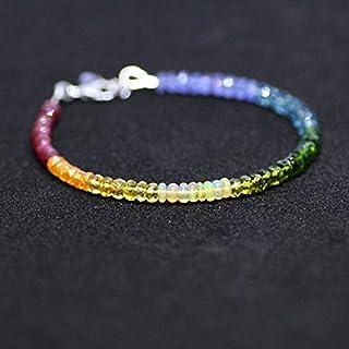Pulsera de zafiros de tanzanita natural con gemas de arco iris, chapado en oro blanco de 14 quilates, apilable, 4 mm