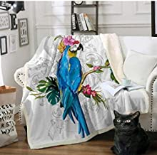 Colorful Flower Bird Sherpa Blanket On Beds Sofa Cartoon Plush Soft Throw Blanket For Kids Adults Bedspread Sofa Cover 150 * 200Cm zghzsc