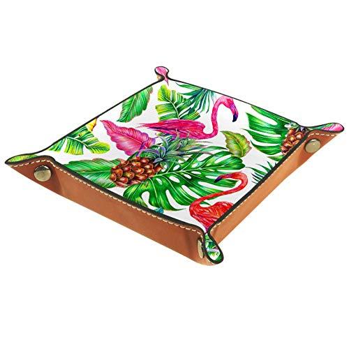 BestIdeas Cesta de almacenamiento cuadrada 20,5 x 20,5 cm, con flamenco tropical, caja organizadora en la mesa para el hogar, oficina, dormitorio, Piel de microfibra., Flamingo tropical, Small
