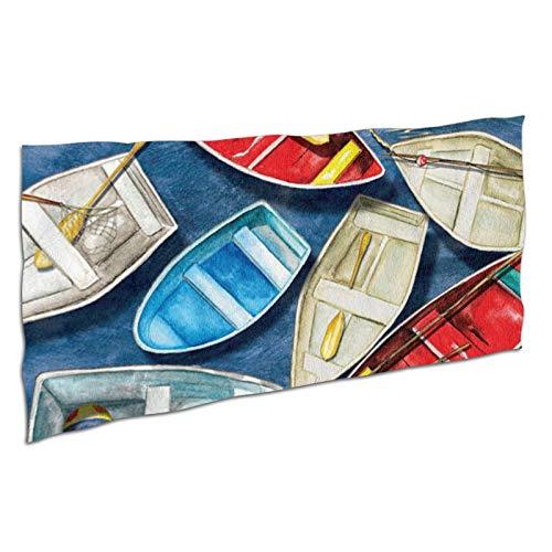 WDS6DF Toalla de baño de color blanco de gran tamaño con diseño de barco de remos y secado rápido