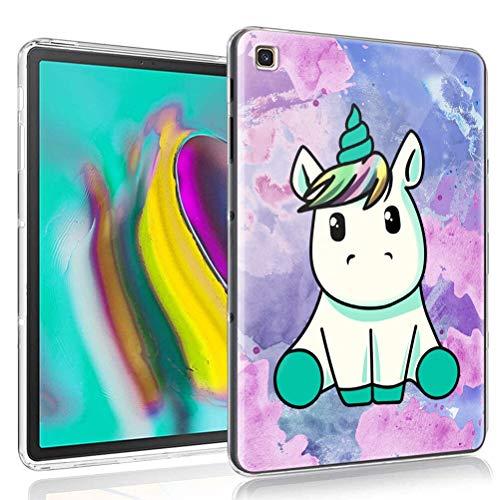 ZhuoFan Funda para Samsung Galaxy Tab S7 SM-T870 / T875, Case Carcasa Silicona Gel TPU Transparente con Dibujos Antigolpes Cover Piel de Protector Ligera Tableta para Samsung Tab S7, Unicornio
