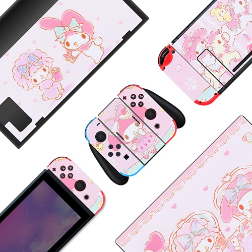 BelugaDesign Melody Switch Skin | Cute Pastel Sticker Wrap Vinyl Decal | Bunny Animal Anime Kawaii Japanese Cartoon Game l Compatible with Nintendo Switch (Switch Standard, Pink)