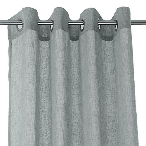 Ösenschal Gardine Baumwoll Leinen Optik Vorhang einfarbig 140x245cm grau