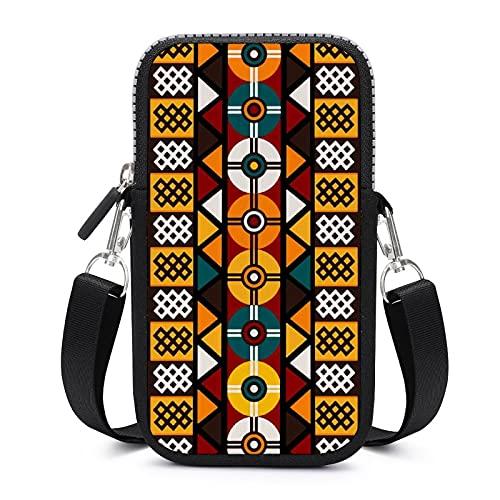 Bolso bandolera con correa de hombro extraíble floral africano étnico impermeable funda para llave brazalete cartera Yoga Bolsas hombres