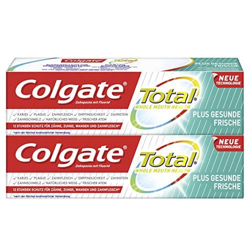 Colgate Total Zahnpasta Plus Gesunde Frische, Doppelpack (2 x 75 ml) - Zahncreme gegen Karies und Plaque mit Minzgeschmack für frischen Atem