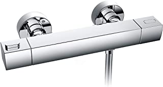 WELQUIC Termostato de ducha, tecnología termostática para un control de temperatura preciso, Grifo termostático de ducha con montaje en pared expuesto, color cromo