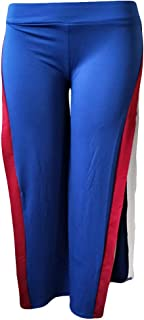 Qootent Women Wide Leg Pant Sweatpant Splicing Split Sexy Active Loose Trousers